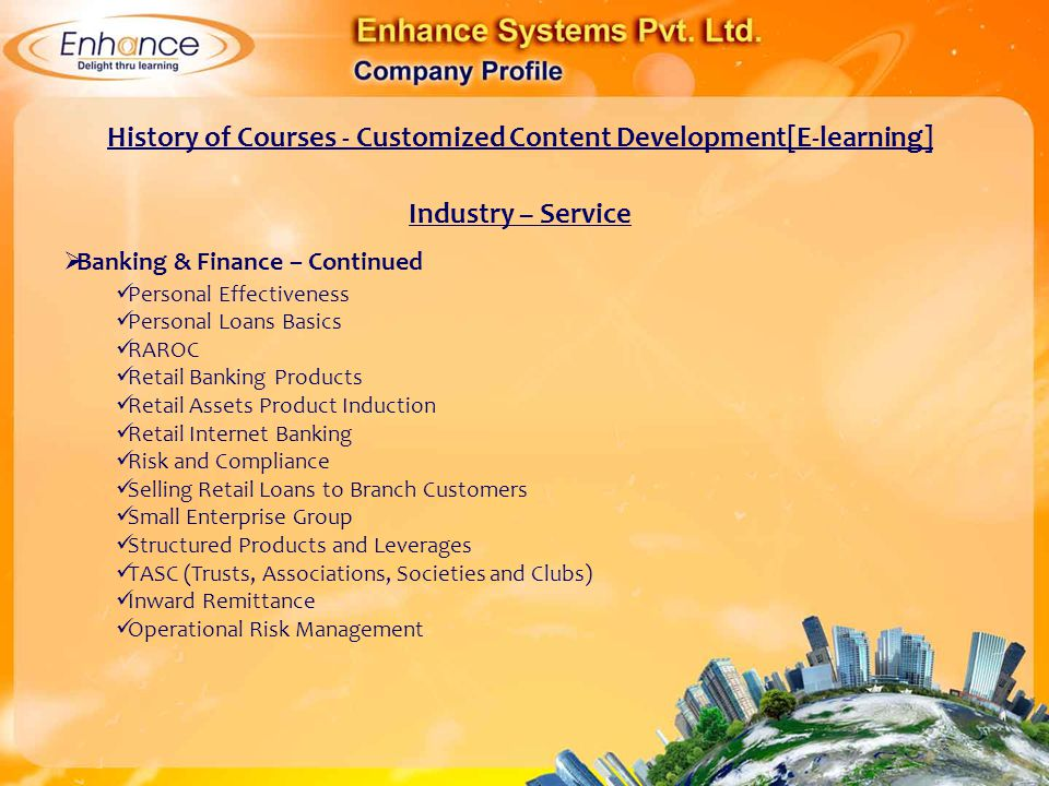 History of Courses - Customized Content Development[E-learning]